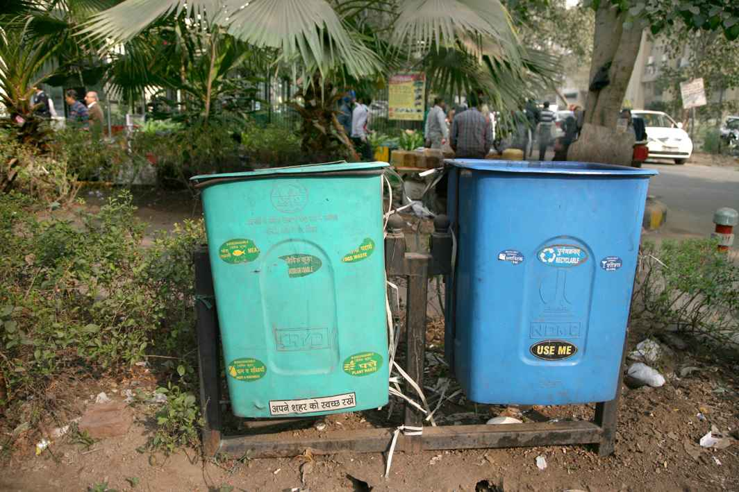 Green and blue bins installed at public locations to segregate waste. Photo: Anil Shakya