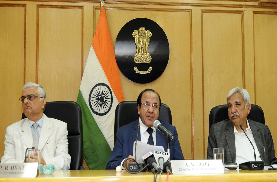 The Chief Election Commissioner, Achal Kumar Joti along with the Election Commissioners, OP Rawat and Sunil Arora addressing the press conference to announce Election Schedule to Legislative Assembly of Gujarat. Photo: PIB