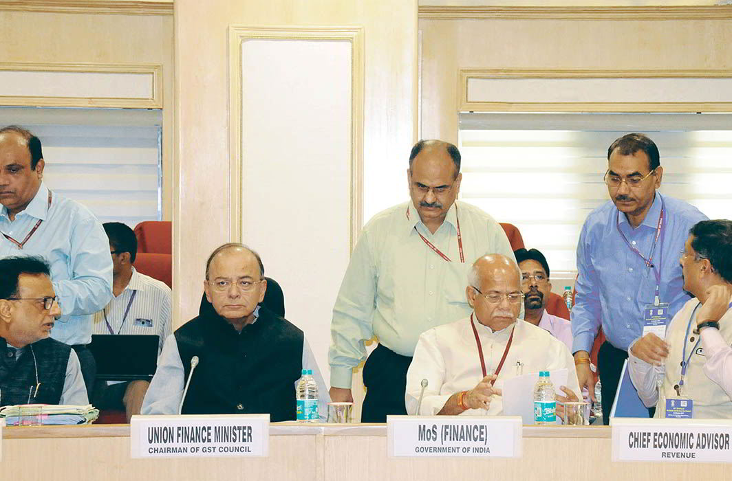 The GST Council meeting in progress on October 6, to look into some grey areas. Photo: UNI