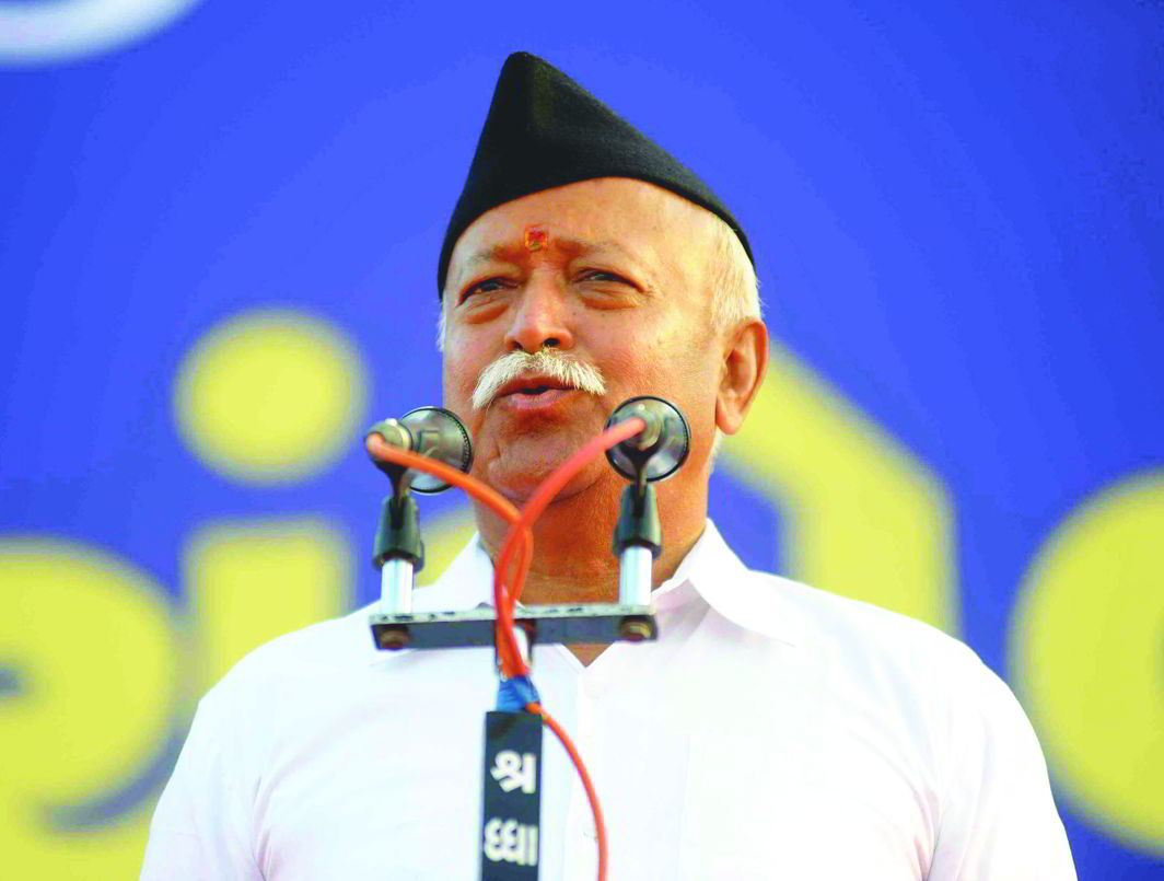 RSS strongman Mohan Bhagwat. Photo: UNI