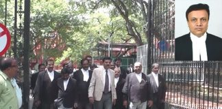 Karnataka High Court judge Justice Jayant Patel (inset); Lawyers protest against Patel's transfer who was transferred to Allahabad