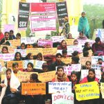 Red Brigade members on dharna in Lucknow, demanding steps to check violence against women. Photo: UNI