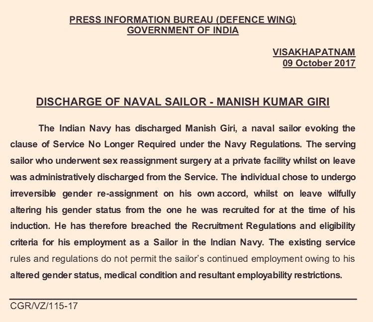 Indian Navy sailor who changed sex is sacked, says will move Supreme Court