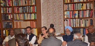 Congress President Sonia Gandhi with former Prime Minister Manmohan Singh and party's Vice President Rahul Gandhi chairing the Congress Working Committee meeting on November 20. Photo: UNI