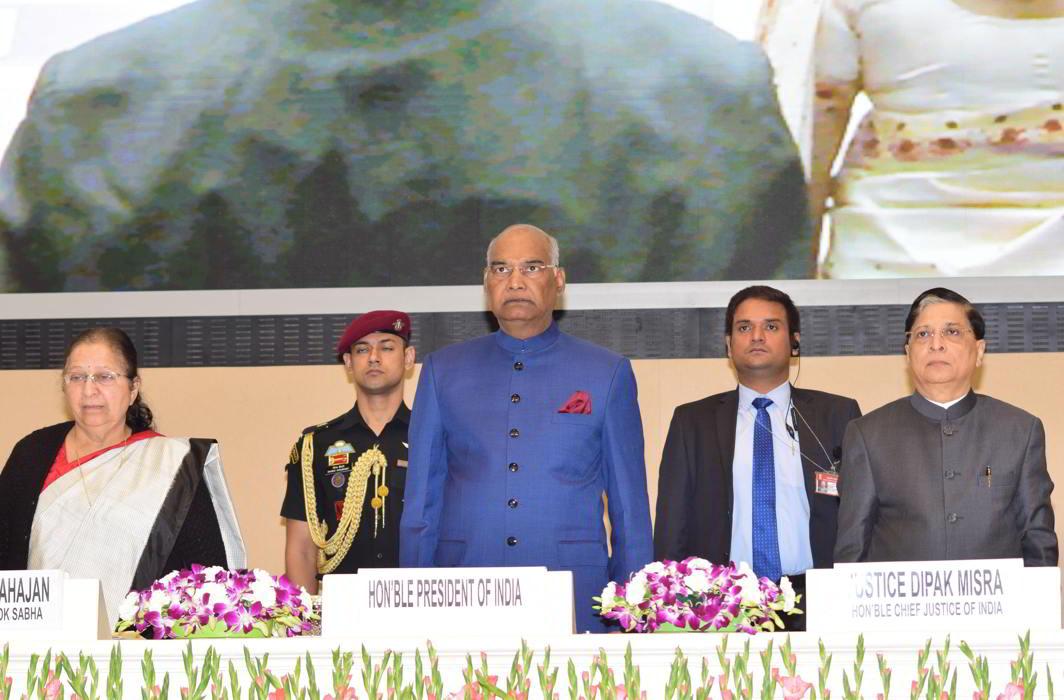 President Ram Nath Kovind, Chief Justice of India Dipak Mishra and Lok Sabha Speaker Sumitra Mahajan at the inaugural function of the National Law Day, 2017, in New Delhi on Saturday (November 25). Photo: UNI