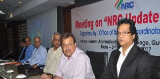 (Right to Left) Prateek Hajela, NRC Coordinator in Assam, Registrar General of India, Sailesh and police officials of Assam meeting with leaders of the political parties of Assam, in Guwahati. Photo: UNI