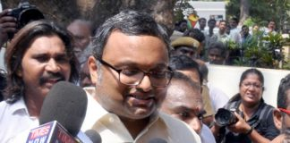 Karti Chidambaram, son of former Union Finance Minister P Chidambaram talking to mediapersons during the CBI raids at his residence, in Chennai (file picture). Photo: UNI