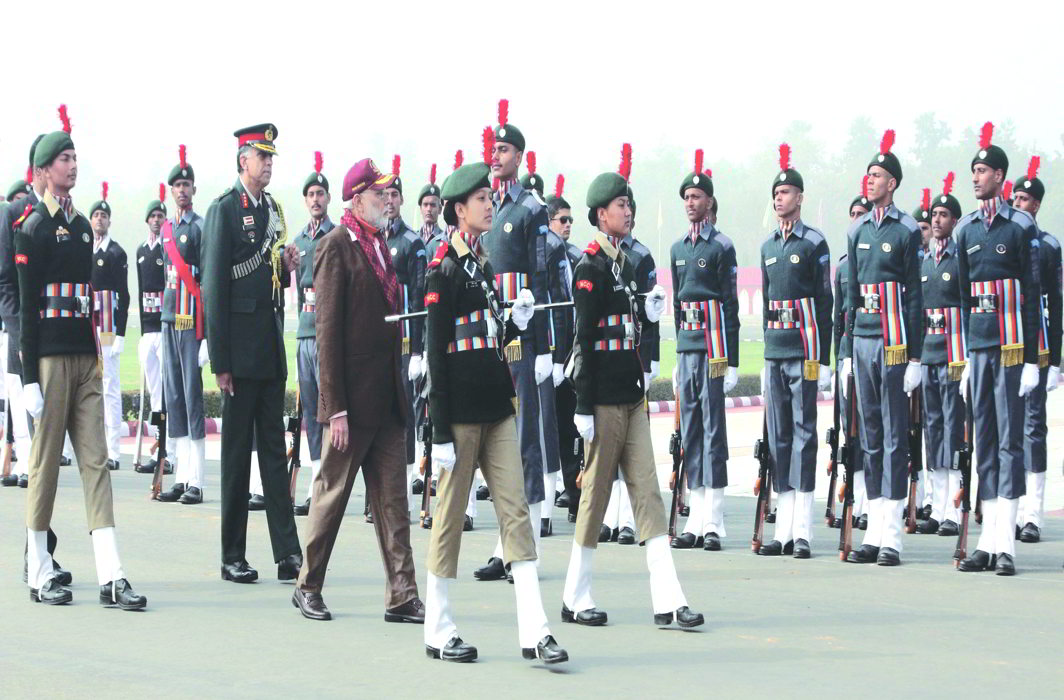 PM Narendra Modi inspecting a guard of honour during an NCC rally, in New Delhi. Photo: UNI