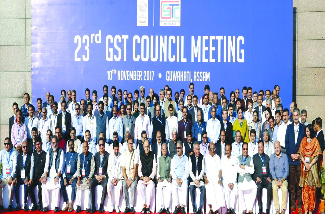 (Left) Finance Minister Arun Jaitley (10th in first row from left) in a group photo during the 23rd GST Council meeting at Guwahati. Photo: PIB