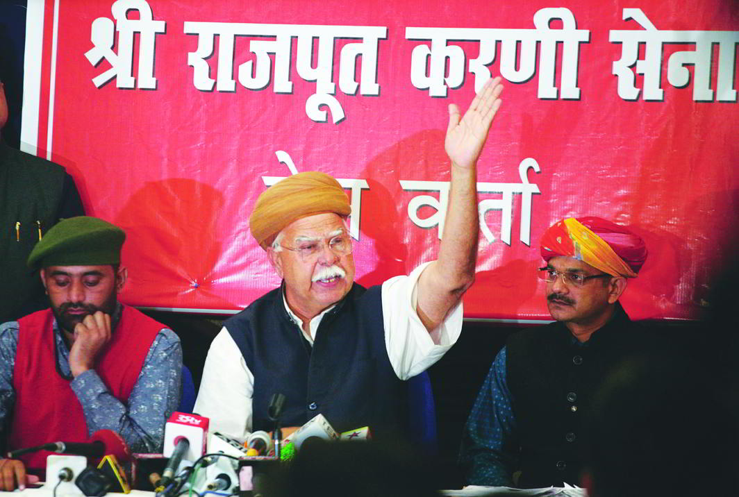 Karni Sena founder Lokendra Singh Kalvi addresses a press conference in New Delhi. Photo: Anil Shakya