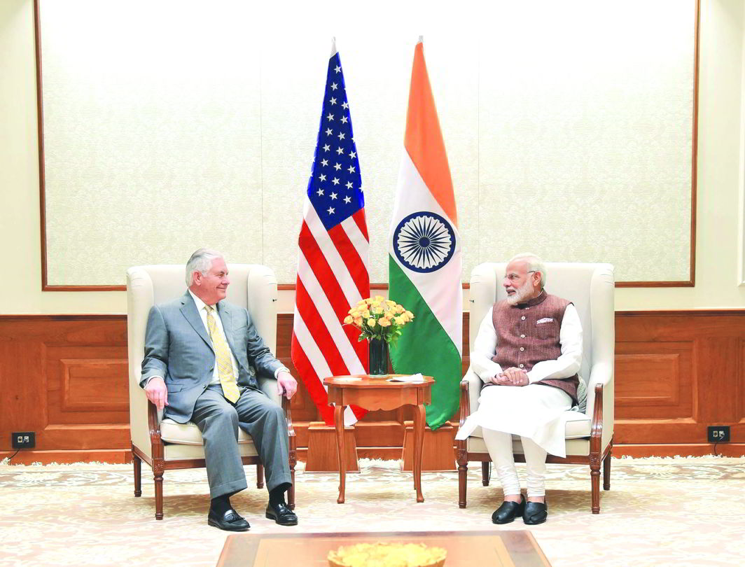 US Secretary of State Rex Tillerson with PM Narendra Modi during his recent visit to India. Photo: UNI