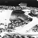 The body of Mahatma Gandhi lying at Birla House in New Delhi. Photo: oldindianphotos.in