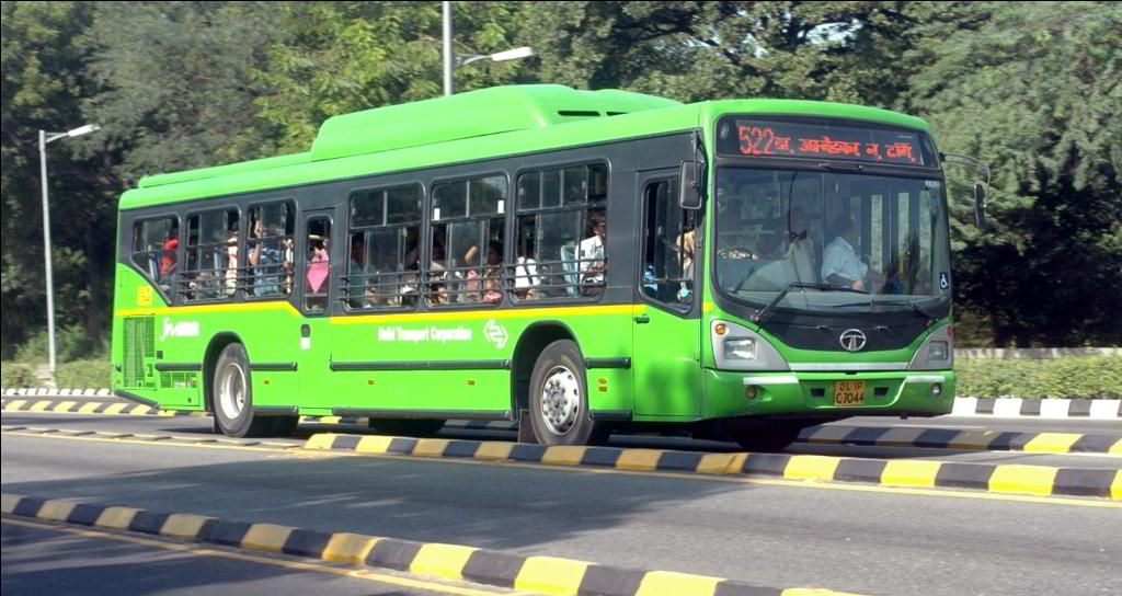 A low-floor bus in New Delhi.