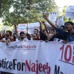 Mother of Najeeb Ahmed join with the Members of the Jawaharlal Nehru University Students' Union at a march to demanding proper enquiry on the mysterious disappearance of Ahmed in New Delhi (file picture). Photo: UNI