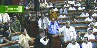 Members of Parliament engaged in a heated debate in the Lok Sabha. Photo: UNI