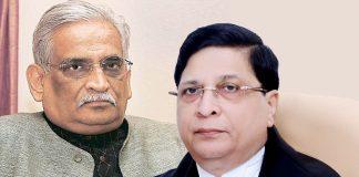 (Left) Rajeev Dhawan and CJI Dipak Misra