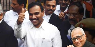 Former telecom minister A Raja at the Patiala House Court after his acquittal in the 2G scam case/Photo: UNI