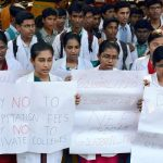 Medical students holding placards to oppose the NEET in Chennai (file picture)/Photo: UNI