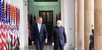 Prime Minister Narendra Modi with U S President Barack Obama at Hyderabad House in New Delhi (file picture). Photo: UNI