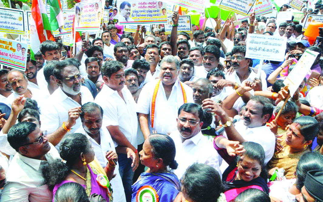 Activists of the Tamil Maanila Congress led by its chief GK Vasan protest against NEET in Chennai. Photo: UNI
