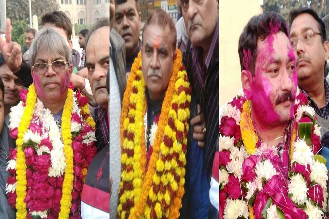 Winning candidates rejoicing after the Allahabad High Court Bar Association results were announced on December 25.