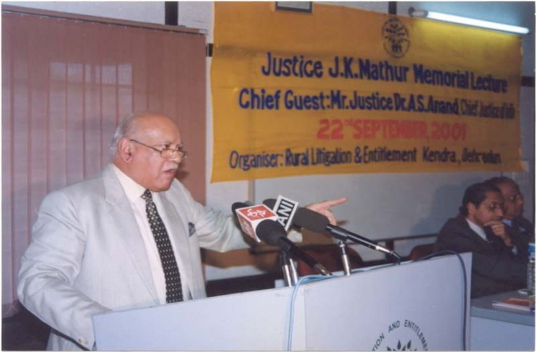 Justice A S Anand speaking at Justice J K Mathur Memorial Lecture.