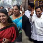 (Left) MK Kanimozhi and A Raja during the trial at Patiala House Court on Thursday (December 21). Photo: UNI