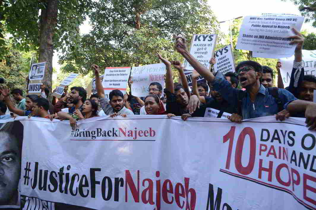 Students protesting at the disappearance of Jawaharlal Nehru University student Najeeb Ahmed (file picture). Photo: UNI