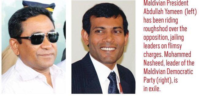 Maldivian President Abdullah Yameen(left) and Mohammed Nasheed leader of Maldivian Democratic Party (right).