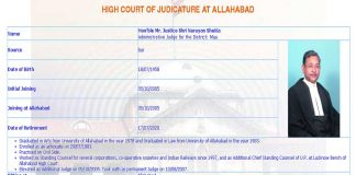 Justice S N Shukla's profile on the website of the Allahabad High Court