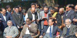 (L-R) Justice Kurian Joseph, Justice Jasti Chelameswar, Justice Ranjan Gogoi and Justice Madan B Lokur addressing a press conference in New Delhi/Photo: UNI
