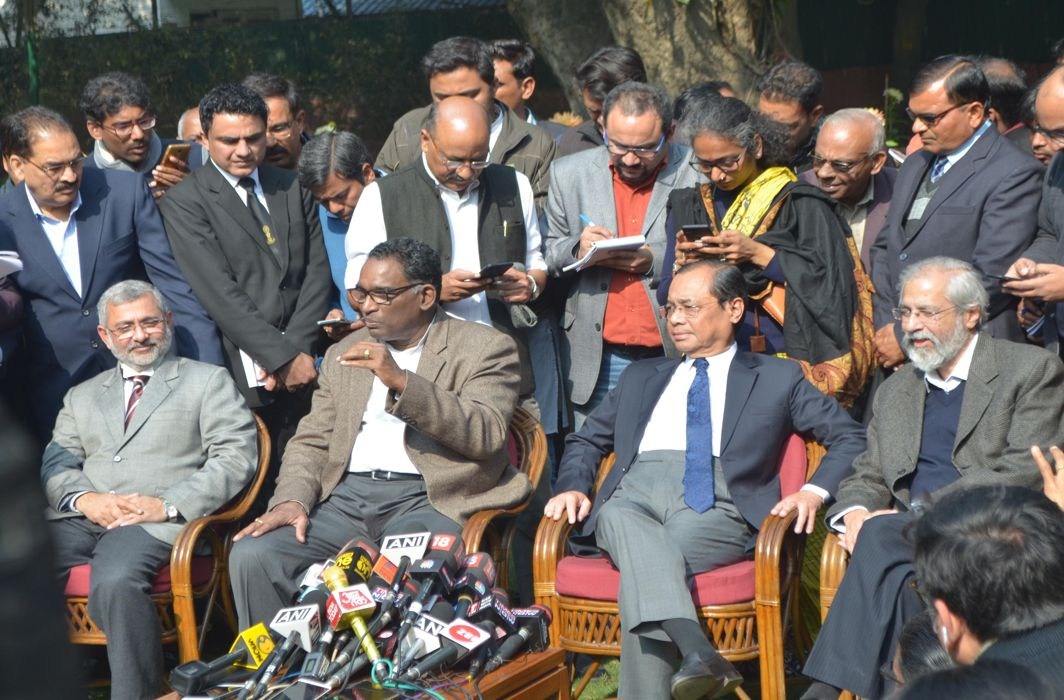 (L-R) Justice Kurian Joseph, Justice Jasti Chelameswar, Justice Ranjan Gogoi and Justice Madan B Lokur addressing a press conference in New Delhi/Photo: UNI
