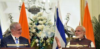 Modi with Israeli Prime Minister Benjamin Netanyahu in Delhi recently. Picture courtesy PMO