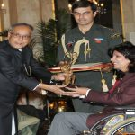 Former President, Pranab Mukherjee presenting the Arjuna Award for the year 2012 to Deepa Malik for Athletics Paralympics (file picture)/Photo: PIB