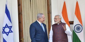 Prime Minister, Narendra Modi with the Prime Minister of Israel, Benjamin Netanyahu, at Hyderabad House, in New Delhi on January 15, 2018/Photo: PIB