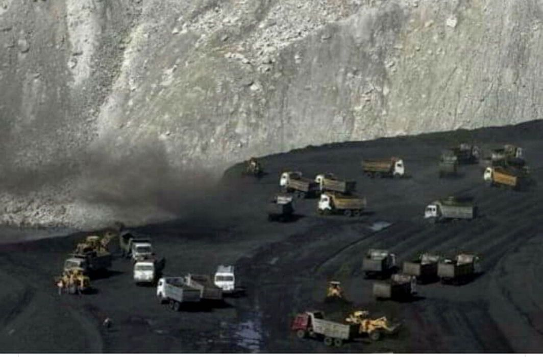 A TV grab of a coal mine in Lalmatia, Godda. Photo: UNI