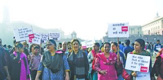 All India Democratic Women's Association members protest against rising rape cases in Delhi