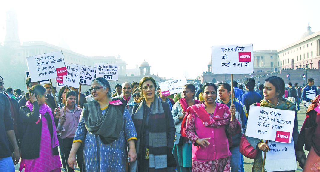 All India Democratic Women's Association members protest against rising rape cases in Delhi