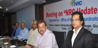 (Right to Left) Prateek Hajela, NRC Coordinator in Assam, Registrar General of India, Sailesh and police officials of Assam meeting with leaders of the political parties of Assam, in Guwahati (file picture)/ Photo: UNI