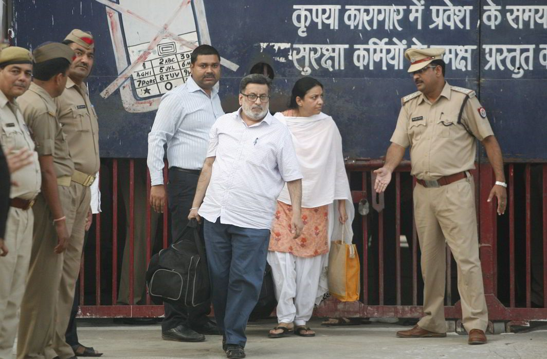 Rajesh and Nupur Talwar coming out of asna jail after being acquitted by the Allahabad high Court