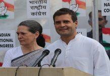 Congress President Rahul Gandhi with ex-President Sonia Gandhi addressing the media. Photo: UNI