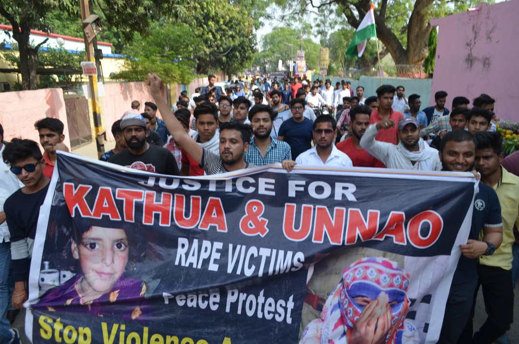 A protest march in Moradabad against the brutal rapes of Unnao and Kathua