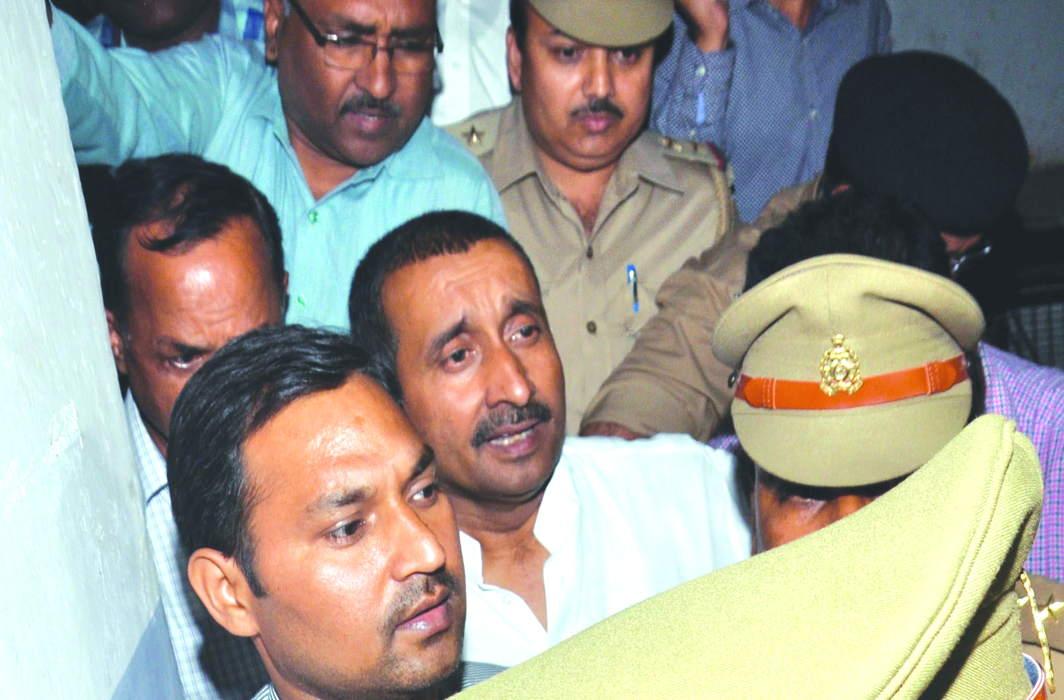 Unnao rape accused BJP MLA Kuldeep Singh Sengar in the CBI court in Lucknow. Photo: UNI