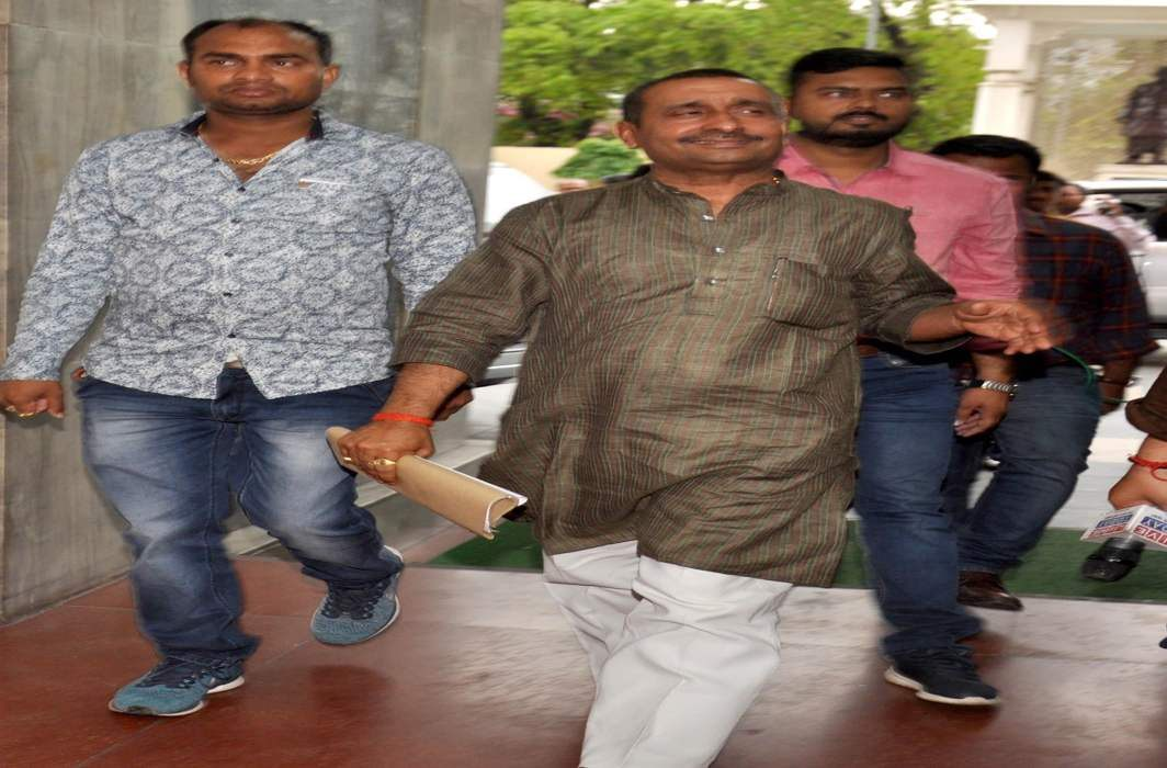 BJP MLA from Unnao Kuldip Singh Sengar, facing rape charges,arrived at the Chief Ministers office, in Lucknow on Monday/Photo: UNI