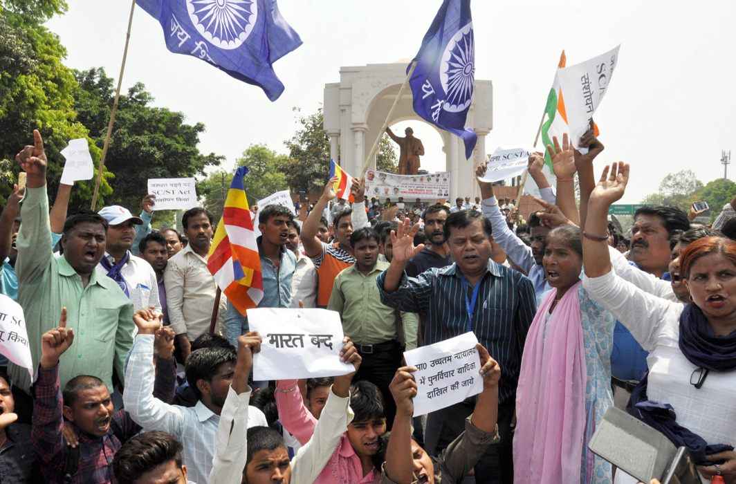 Members of Dalit organisations raising slogans during Bharat Bandh over SC/ST issue, in Lucknow on Monday/Photo: UNI
