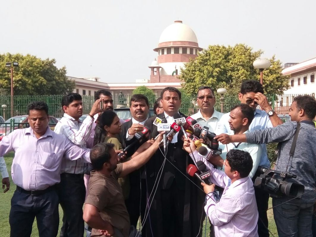 Manoj Gaurkela counsel for one of the dalit organizations speaking to mediapersons after the SC refused to stay its order on SC/ST Act/Photo: Anil Shakya