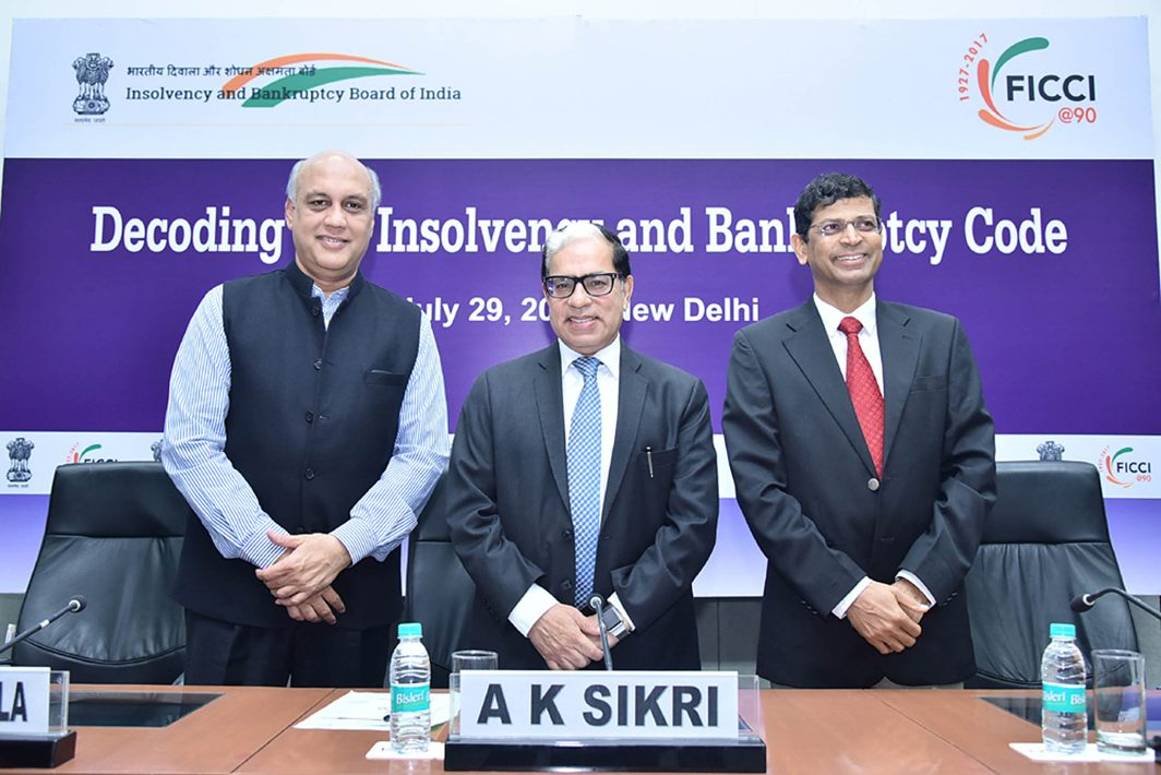 Former FICCI president Sidharth Birla, SC judge Justice AK Sikri and IBBI chief MS Sahoo at a conference on insolvency