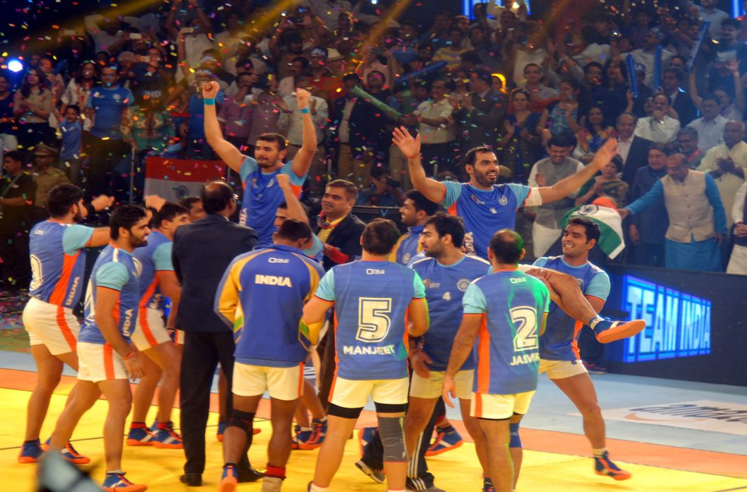 Indian players celebrating after winning the Kabaddi World Cup 2016 final match against Iran in Ahmedabad/Photo: UNI