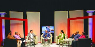 Justice Swatanter Kumar (centre) flanked by Pradeep Rai, senior advocate, Supreme Court (third from left); Rajshri Rai, editor-in-chief, APN (third from right); Inderjit Badhwar, editor-in-chief, India Legal (second from right), Shobha John, deputy managing editor, India Legal (first from right); Ashok Damodaran, executive editor, India Legal (second from left) and Puneet Nicholas Yadav, deputy editor, India Legal