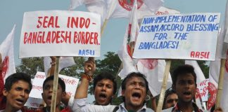 Members of the All Assam students' Union at a rally in Guwahati/Photo: UNI